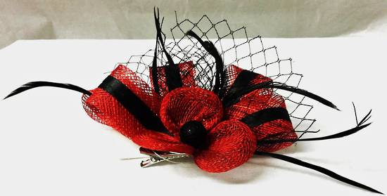 Ruby red fascinator with black stripe, feathers and mesh - one only