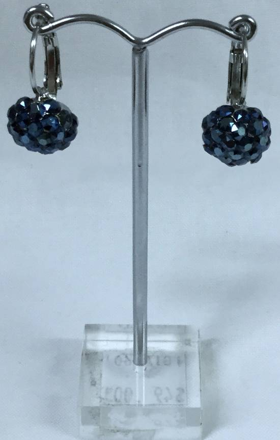 Blue crystal circular drop earrings