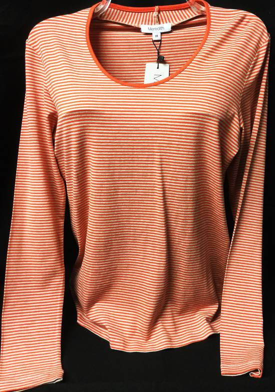 Orange and beige long sleeved round neck top   SALE ITEM