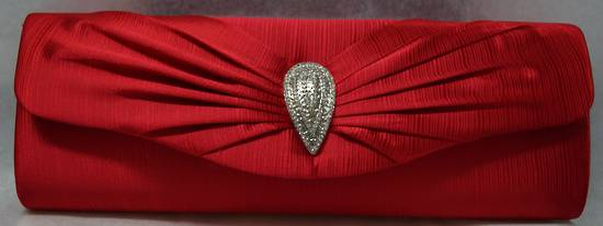 Cherry red teardrop diamante clutch -one only