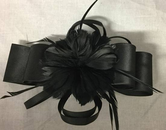 Black satin double bow with feathers fascinator - one only