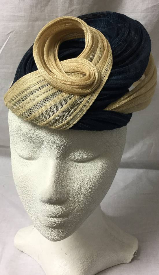 Navy and nude cocktail hat - one only