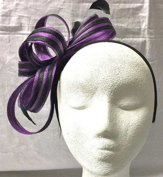 Purple and black two tone bow fascinator - one only