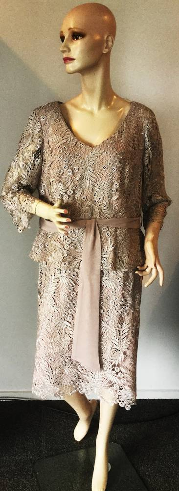 Shell (mushroom) peplum dress with silver lace overlay  16 and 20 only