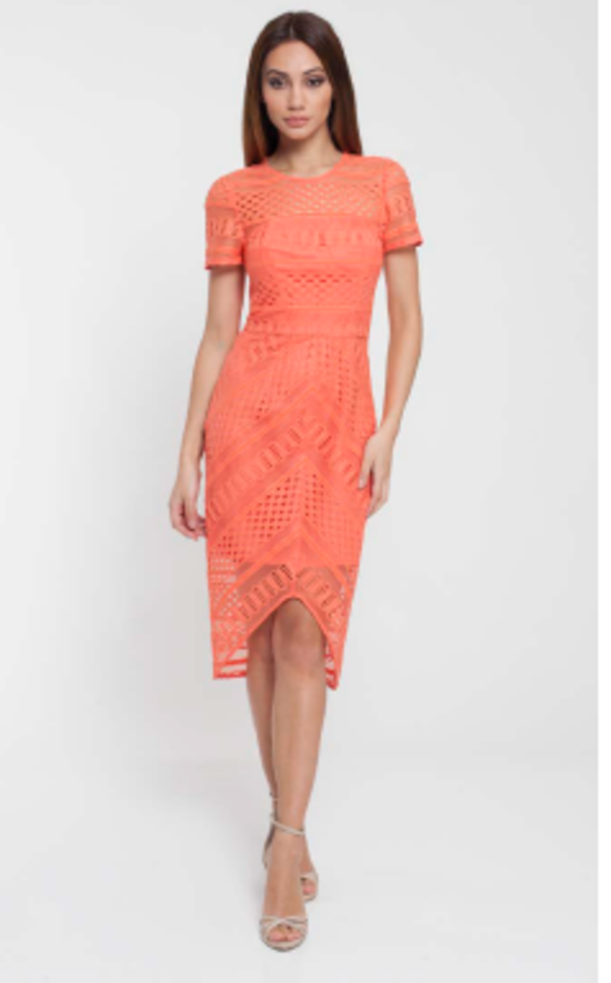 Tangerine mesh dress - one only size 10