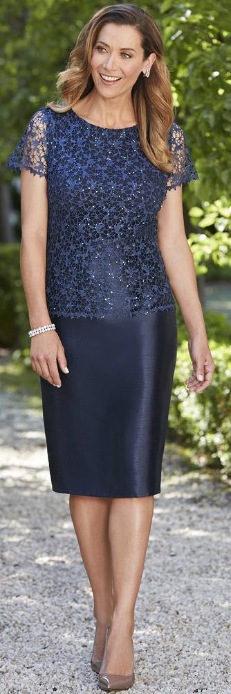 Dress with sequinned lace over shantung dress - size 20 and 24 only
