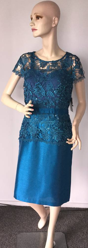 Dress with sequinned lace over shantung dress - size 8 only