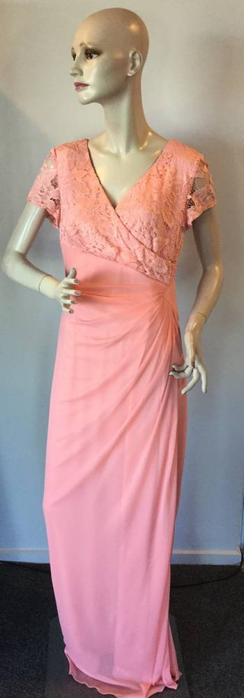 Chiffon and lace gown with V neck and capped sleeves - one only size 14