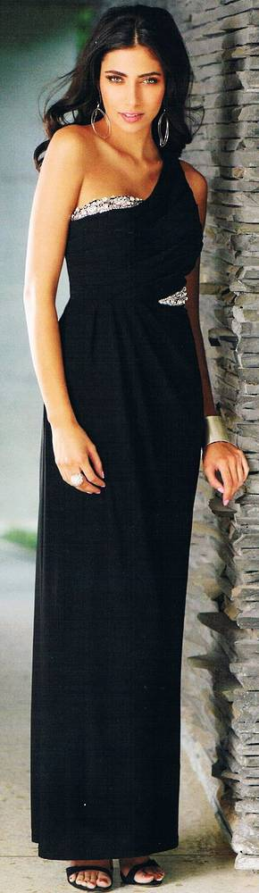 French navy one shouldered gown - size 20 only