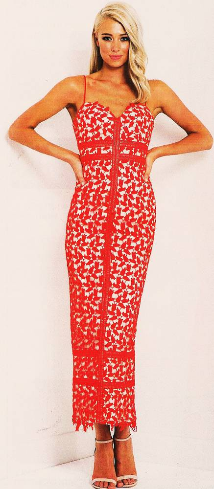 Poppy red lace long gown - one only size 10/12