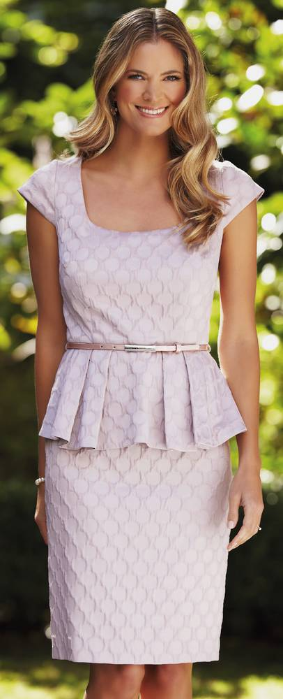 Dusky pink peplum dress with capped sleeves - ON SALE
