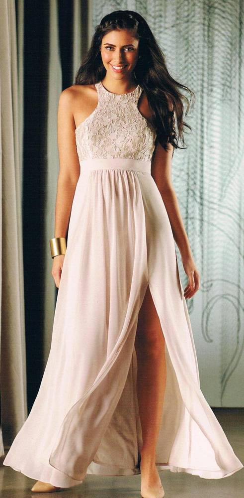 Chiffon and lace racer back gown - size 6 only