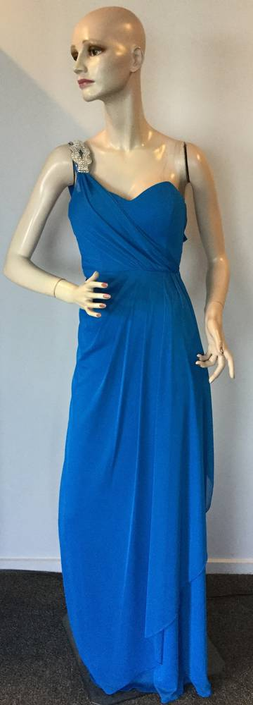 Chiffon and diamante full length one shouldered gown  - size 6 only