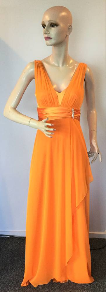 Full length chiffon and satin gown  - size 10 and 14 only