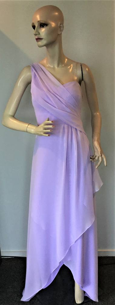One shouldered sweetheart neckline uneven hem gown in chiffon - size 14 only
