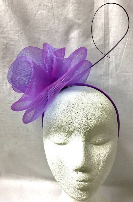 Purple double rosettes on headband - one only