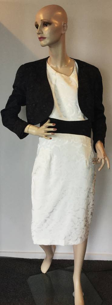 White dress with a contrasting black waist band - one only size 14