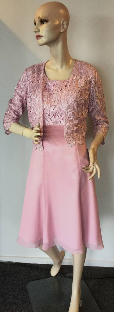 Dusky pink lace dress and jacket - size 8 10 only
