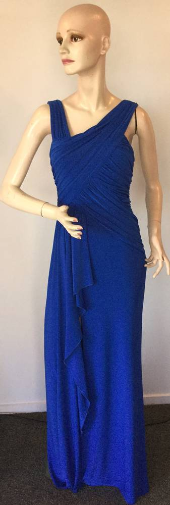 Electric blue rouched gown - size 10 only