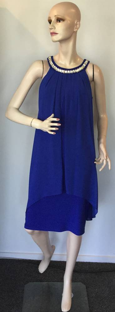 Jersey knit dress with chiffon overlay - size 6/8 only