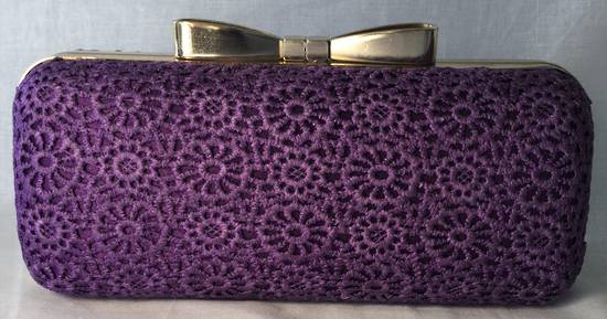 Violet lace and gold clutch - one only