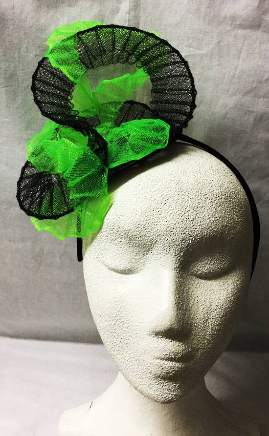 Fluro green  and black fascinator - one only
