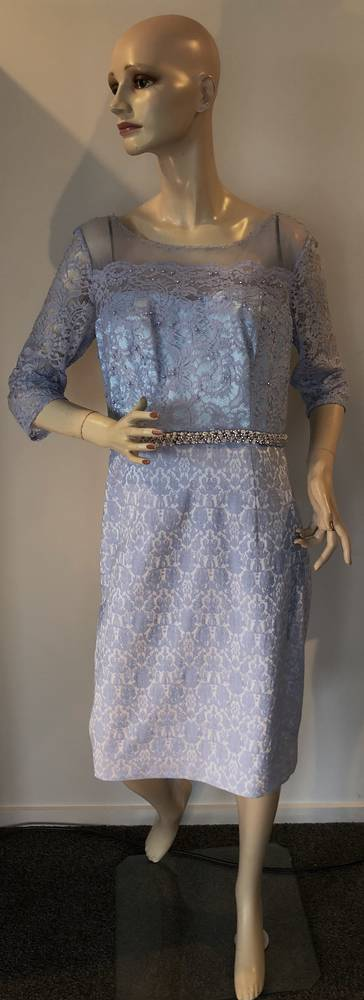 Ice powder blue lace and embossed dress - size 14 only