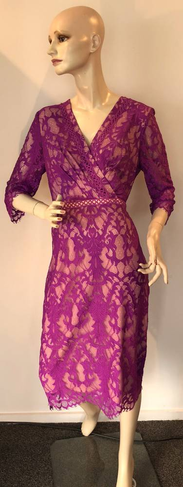Fuchsia lace over nude lining dress - size 10 only