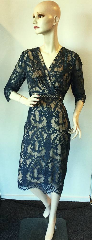 Teal lace over nude lining dress - size 12 only