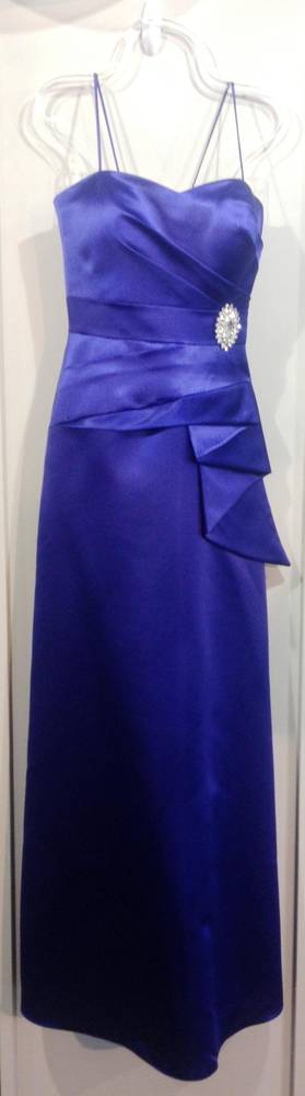Royal satin shoestring strap full length gown