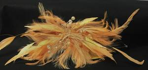 Apricot coloured feather fascinator - one only
