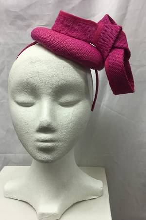 Fuchsia (hot pink) cocktail hat - one only