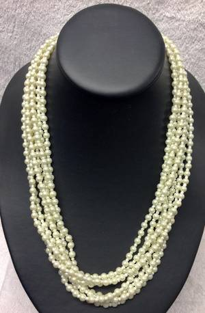 White pearl multi strand necklace