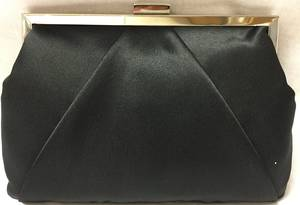 Black satin clutch with chain