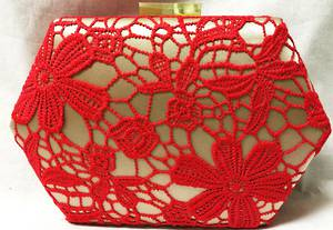 Red lace and champagne clutch - one only