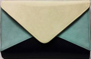 Navy/powder blue/ winter white envelope clutch - one only