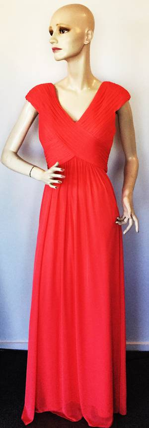 Full length gown crossing over at the bust with capped sleeves - size 12 only