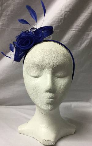 Royal blue rosette and feather fascinator - one only