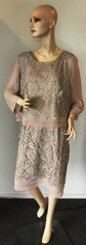 Shell (mushroom) dress with silver lace overlay 20 only