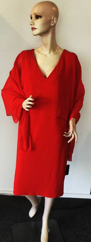 Jersey knit dress with chiffon cape - sizes 8 and 20 only