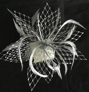 fascinator with veiling and feathers - can be made in any colour