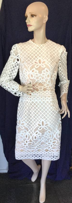 White lace and nude lining dress - one only size 10/12