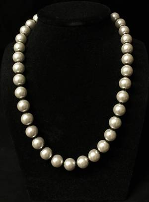 White pearl and gunmetal necklace
