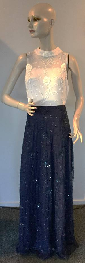 Navy and white sequin gown - size 12 only