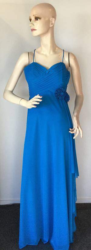 Blue chiffon gown with rosettes and shoestring straps - size 10 and 12 only