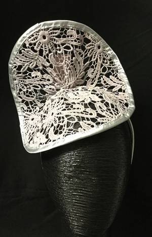 Silver grey lace fascinator