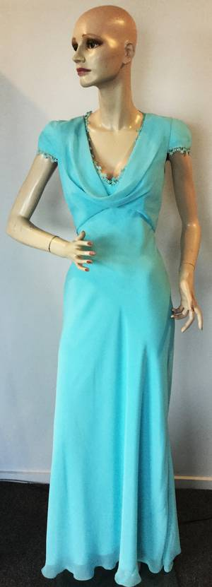 Chiffon gown with a cowl neck - one only size 8