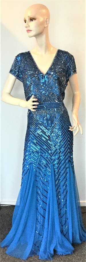 Beaded gown with capped sleeves  - size 18 only