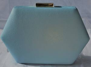 Baby blue heaxgonal clutch with gold chain - one only