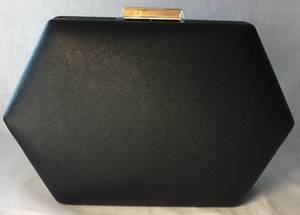 Black heaxgonal clutch with gold chain - one only